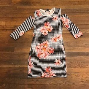 French Connection Striped Floral Body-Con Dress